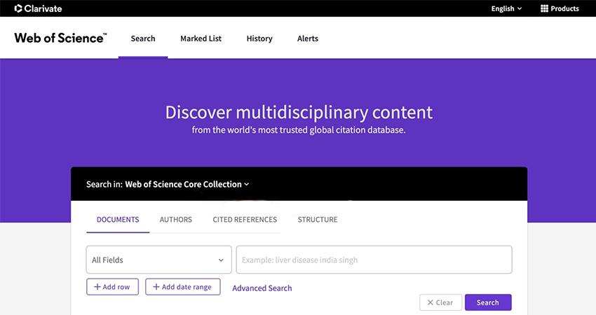 Новий інтерфейс платформи Web of Science